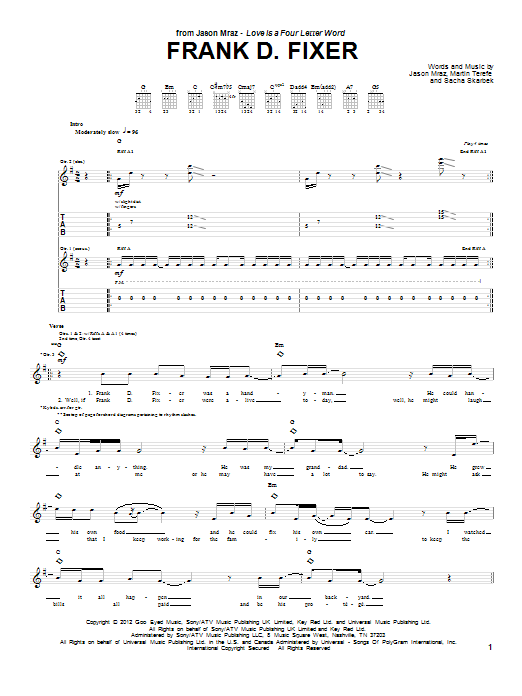 Jason Mraz Frank D Fixer sheet music notes and chords. Download Printable PDF.