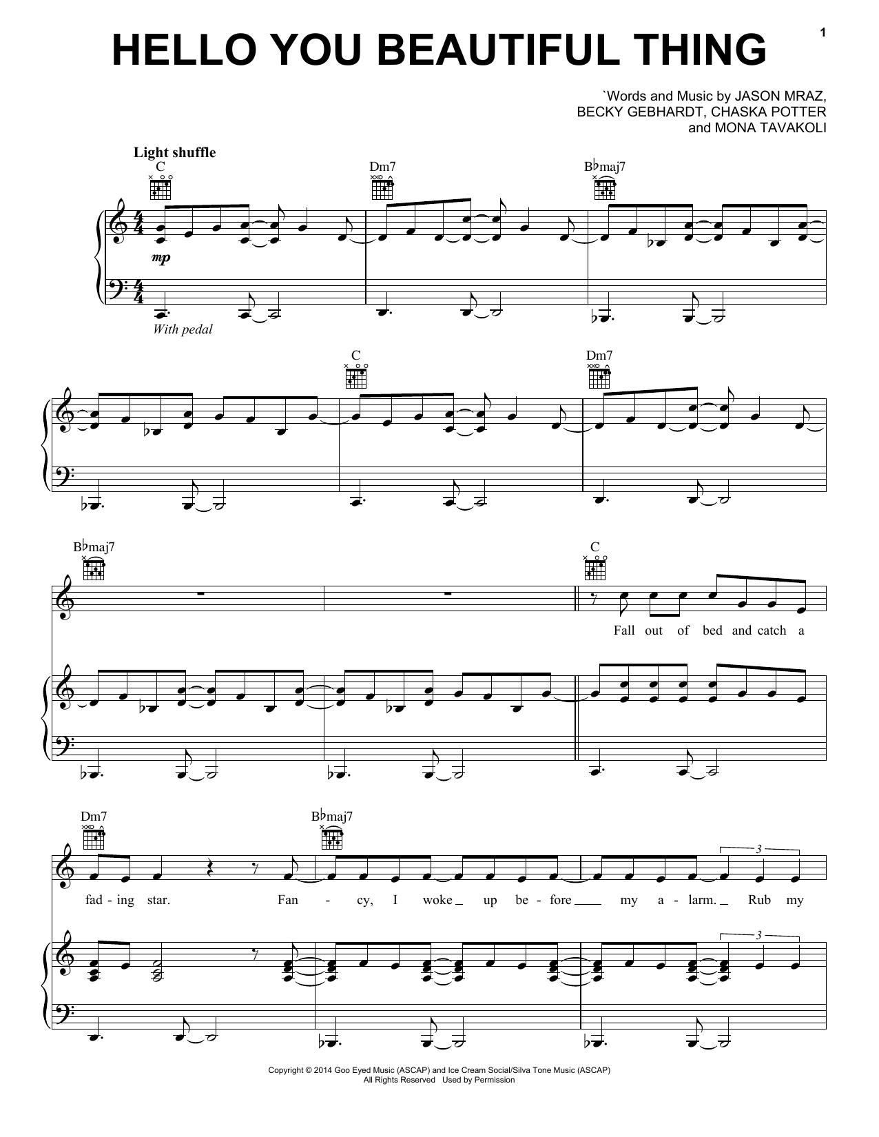 Jason Mraz Hello You Beautiful Thing sheet music notes and chords. Download Printable PDF.