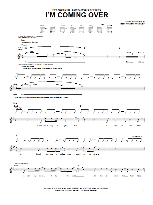 Jason Mraz I'm Coming Over sheet music notes and chords. Download Printable PDF.