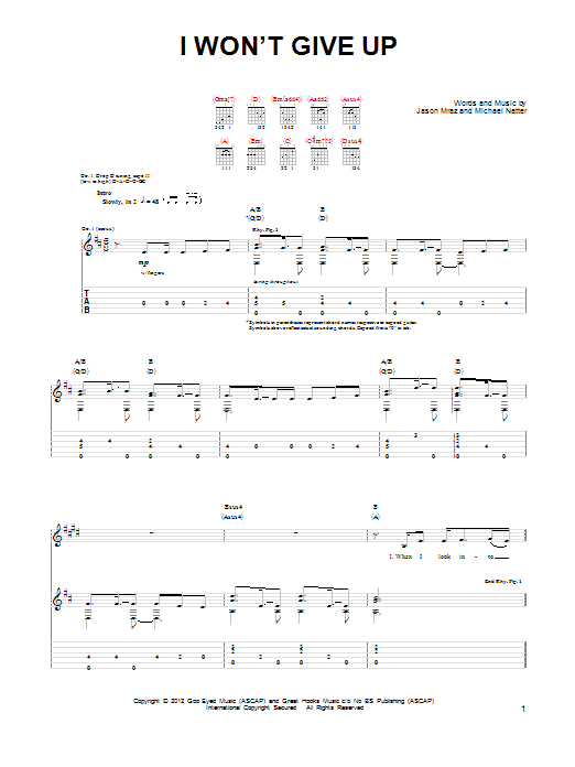 Jason Mraz I Won't Give Up sheet music notes and chords. Download Printable PDF.