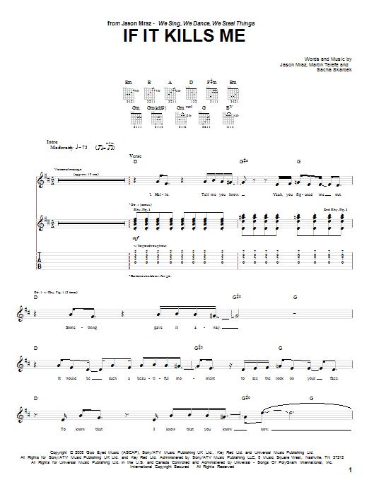 Jason Mraz If It Kills Me sheet music notes and chords. Download Printable PDF.