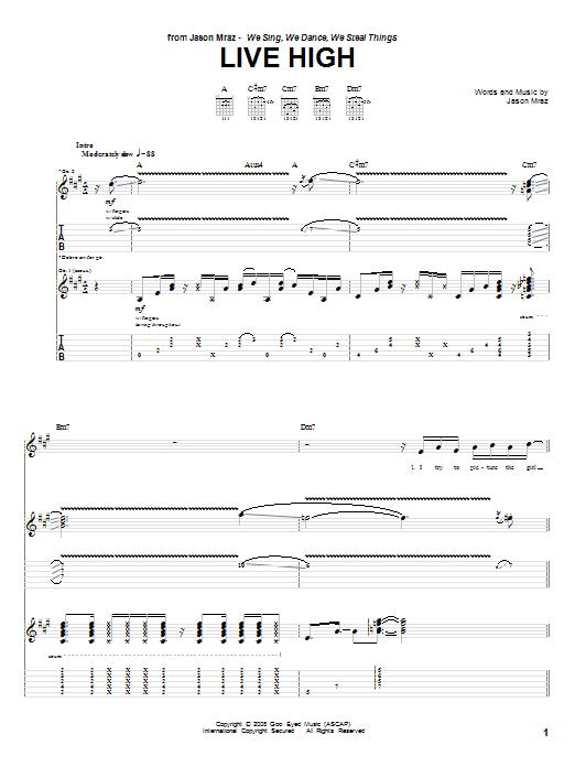 Jason Mraz Live High sheet music notes and chords. Download Printable PDF.