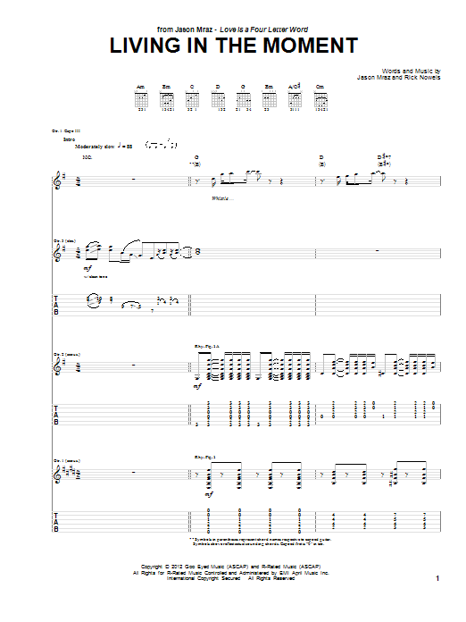 Jason Mraz Living In The Moment sheet music notes and chords. Download Printable PDF.