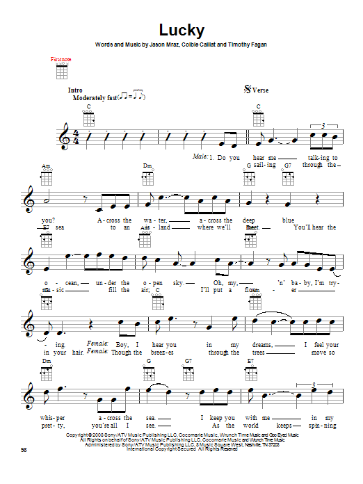 Jason Mraz Lucky Sheet Music Notes Chords Printable Pop