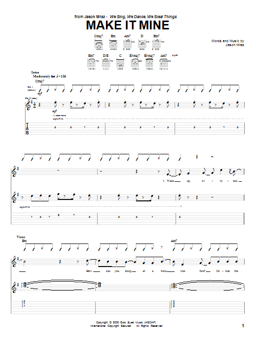 Jason Mraz Make It Mine Sheet Music Notes Chords Printable