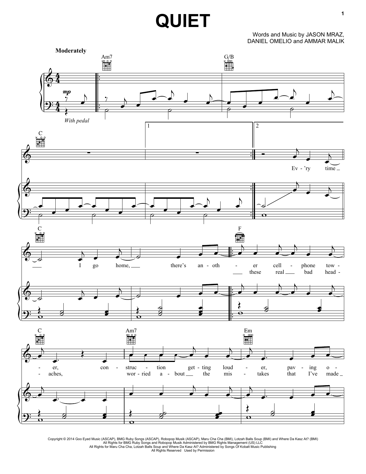 Jason Mraz Quiet sheet music notes and chords. Download Printable PDF.