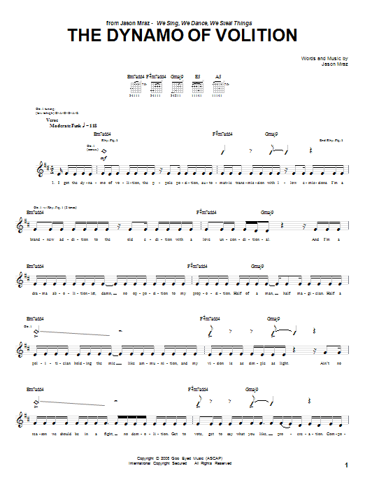 Jason Mraz The Dynamo Of Volition sheet music notes and chords. Download Printable PDF.