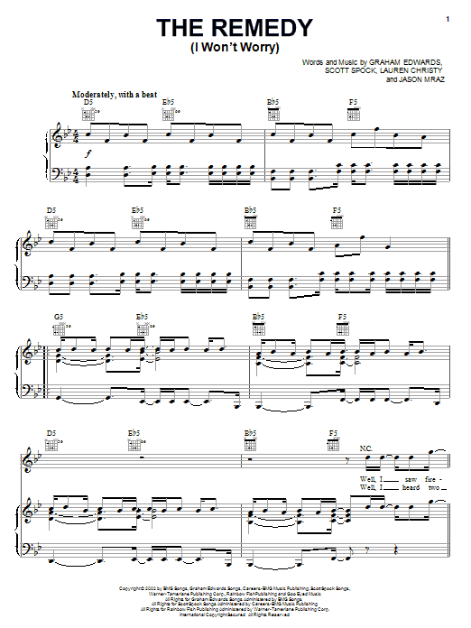 Jason Mraz The Remedy (I Won't Worry) sheet music notes and chords. Download Printable PDF.