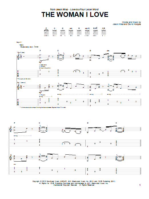 Jason Mraz The Woman I Love sheet music notes and chords. Download Printable PDF.