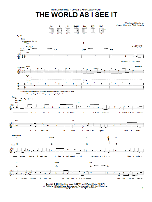 Jason Mraz The World As I See It sheet music notes and chords. Download Printable PDF.