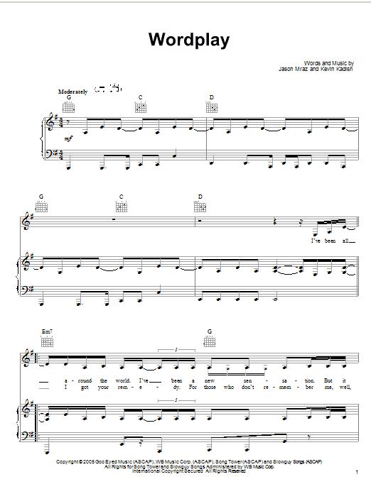 Jason Mraz Wordplay sheet music notes and chords. Download Printable PDF.