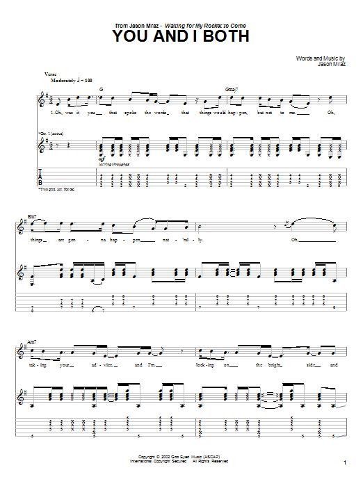 Jason Mraz You and I Both sheet music notes and chords. Download Printable PDF.