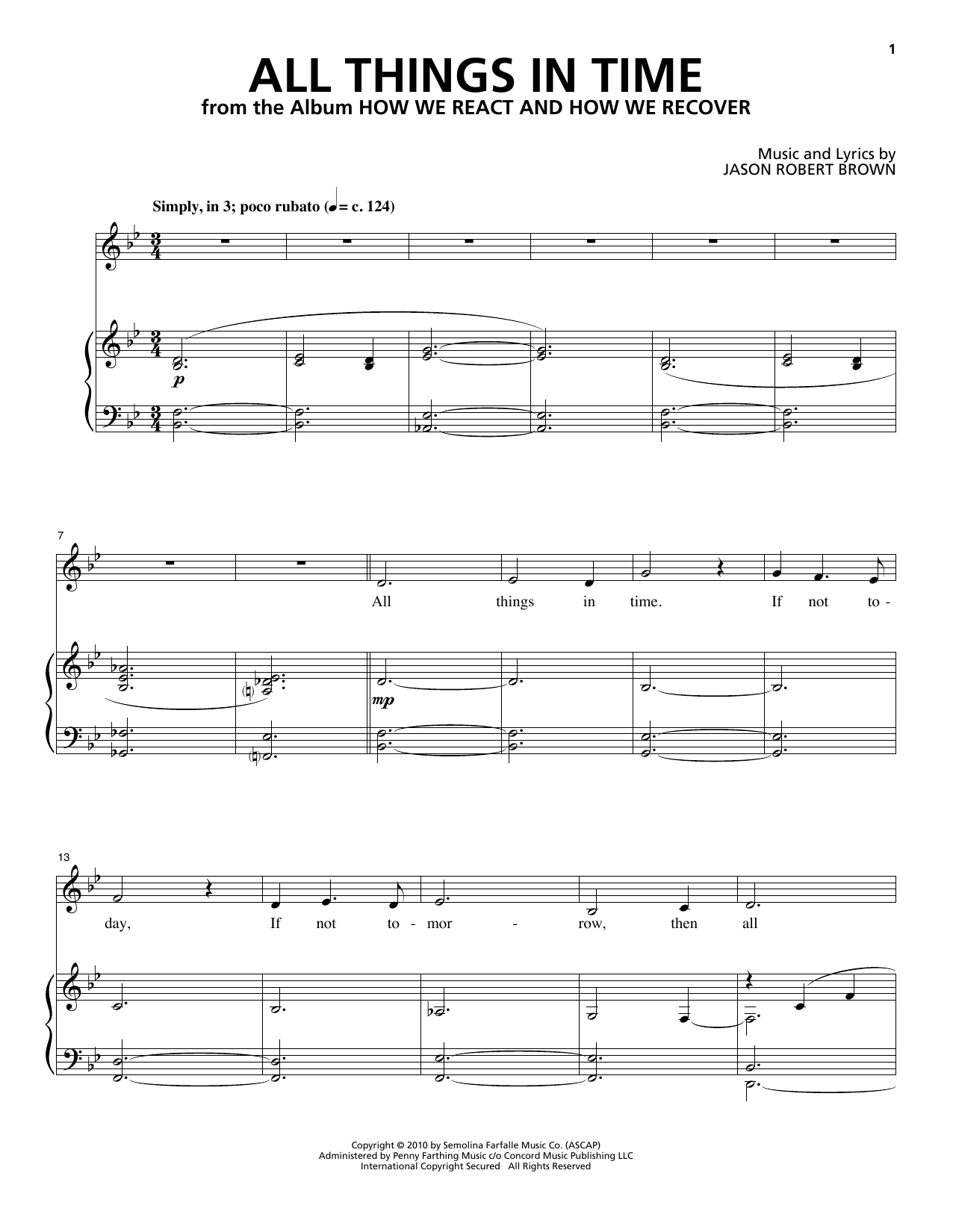 Jason Robert Brown All Things In Time (from How We React And How We Recover) sheet music notes and chords. Download Printable PDF.