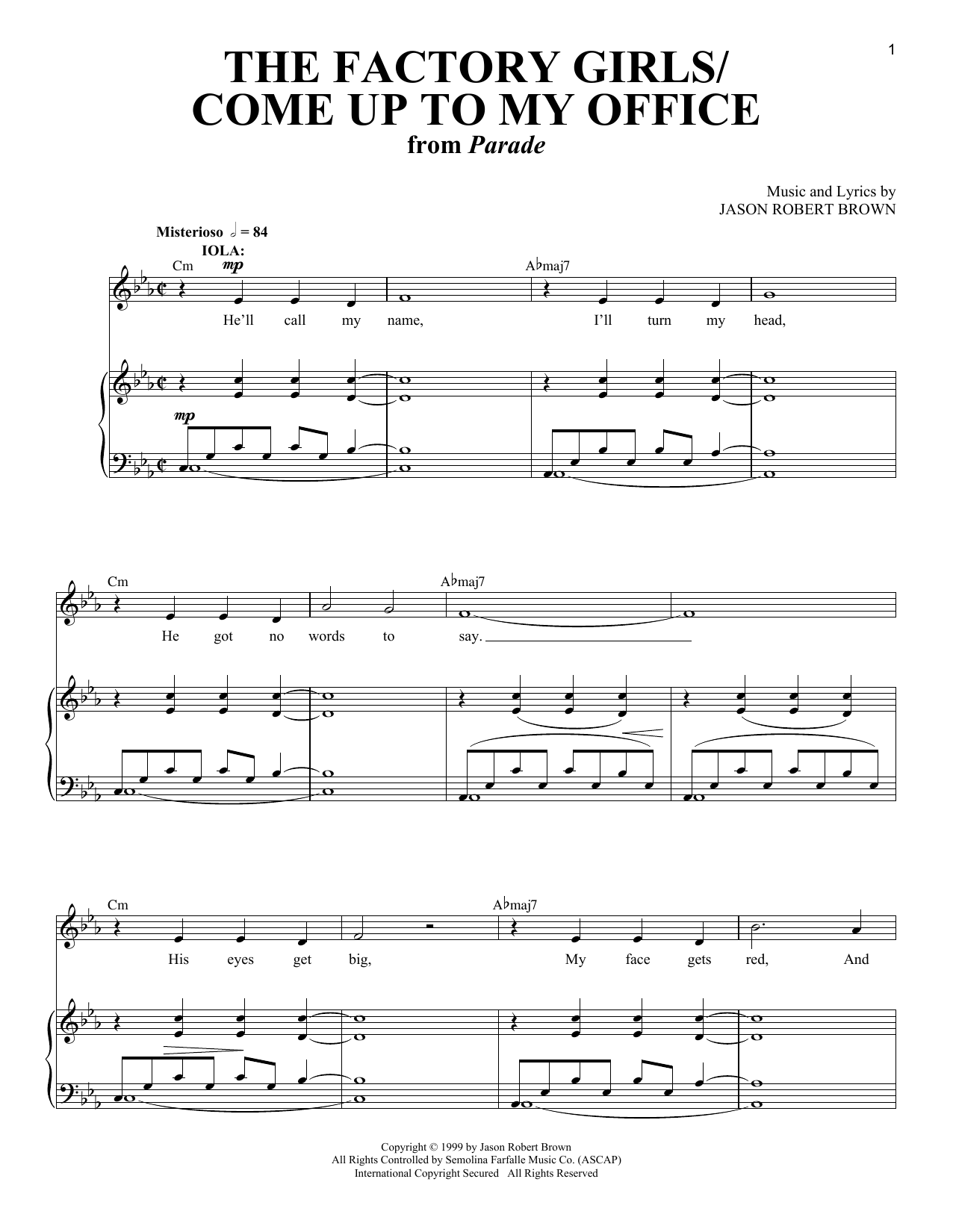 Jason Robert Brown Factory Girls / Come Up To My Office (from Parade) sheet music notes and chords. Download Printable PDF.