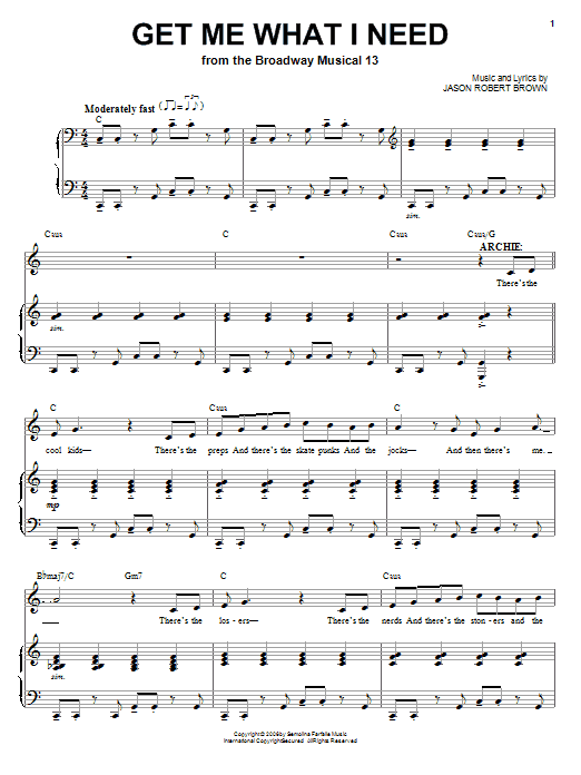 Jason Robert Brown Get Me What I Need (from 13: The Musical) sheet music notes and chords. Download Printable PDF.