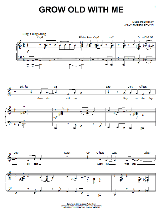 Jason Robert Brown Grow Old With Me (from Wearing Someone Else's Clothes) sheet music notes and chords. Download Printable PDF.