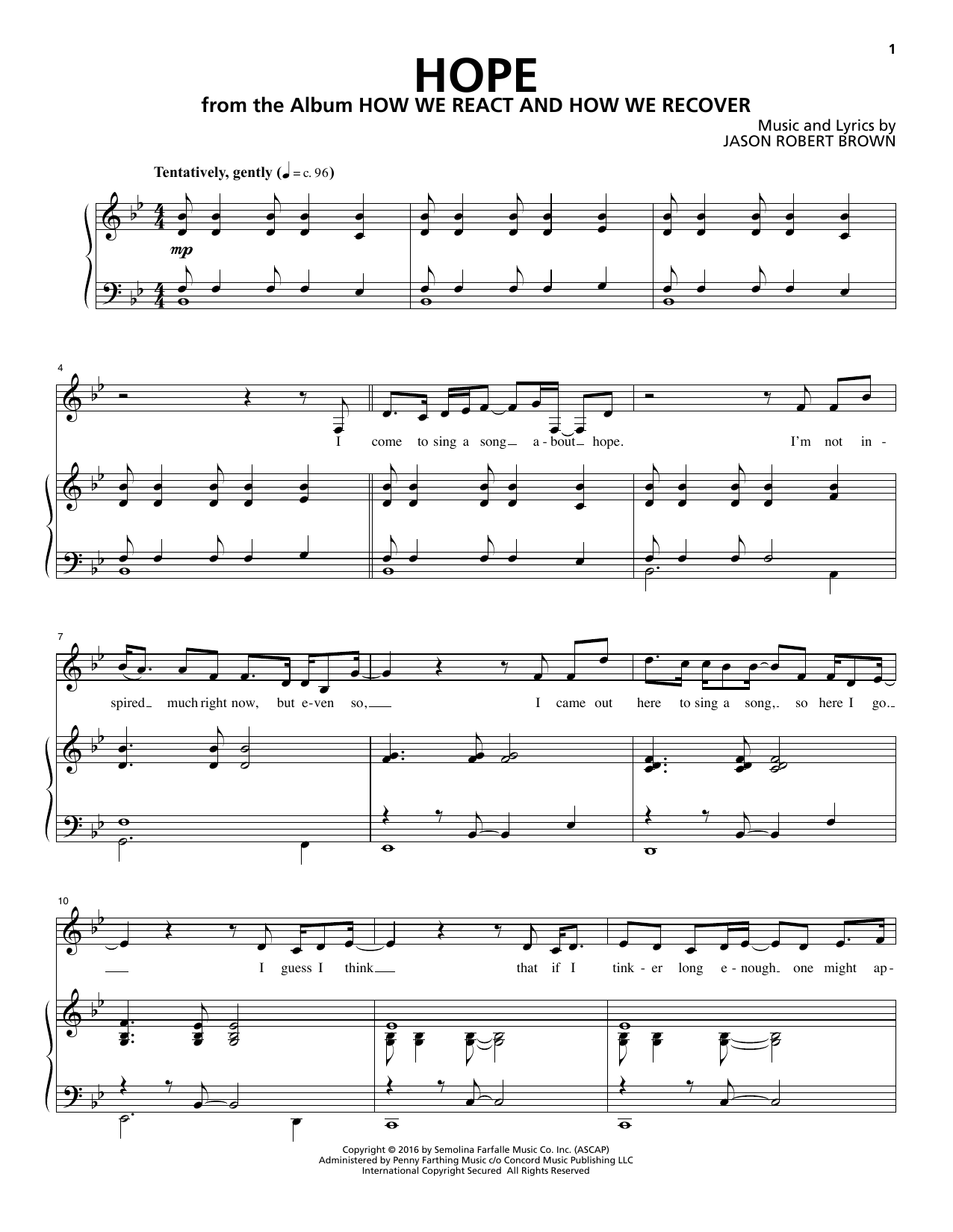 Jason Robert Brown Hope (from How We React And How We Recover) sheet music notes and chords. Download Printable PDF.