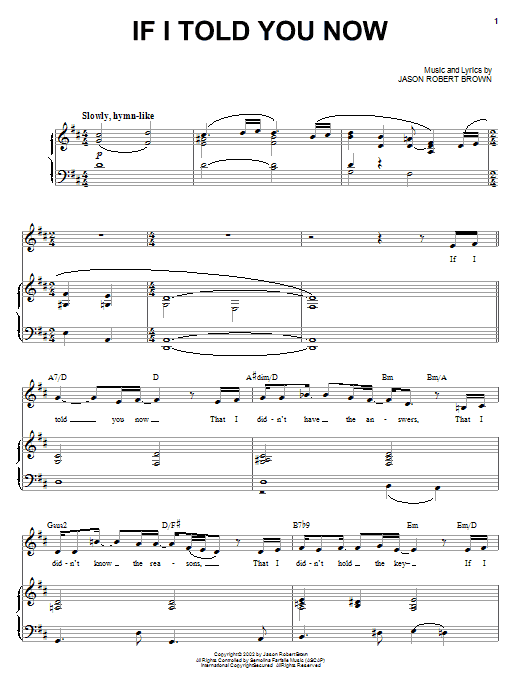Jason Robert Brown If I Told You Now sheet music notes and chords. Download Printable PDF.