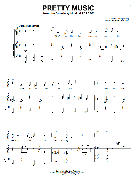 Jason Robert Brown Pretty Music (from Parade) sheet music notes and chords. Download Printable PDF.