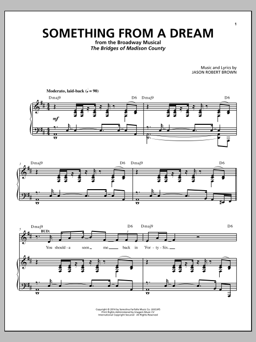 Jason Robert Brown Something From A Dream (from The Bridges of Madison County) sheet music notes and chords. Download Printable PDF.