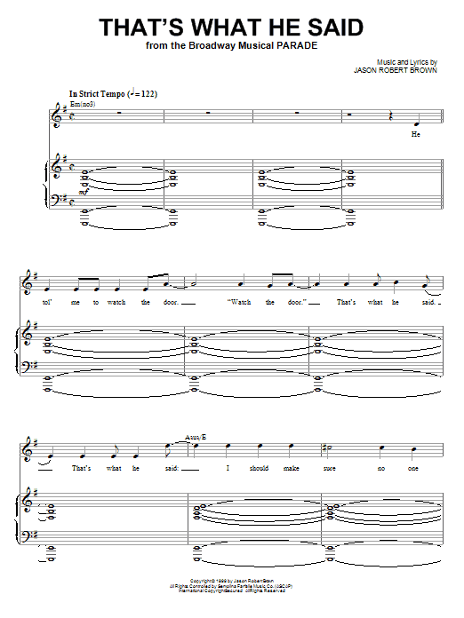Jason Robert Brown That's What He Said (from Parade) sheet music notes and chords. Download Printable PDF.