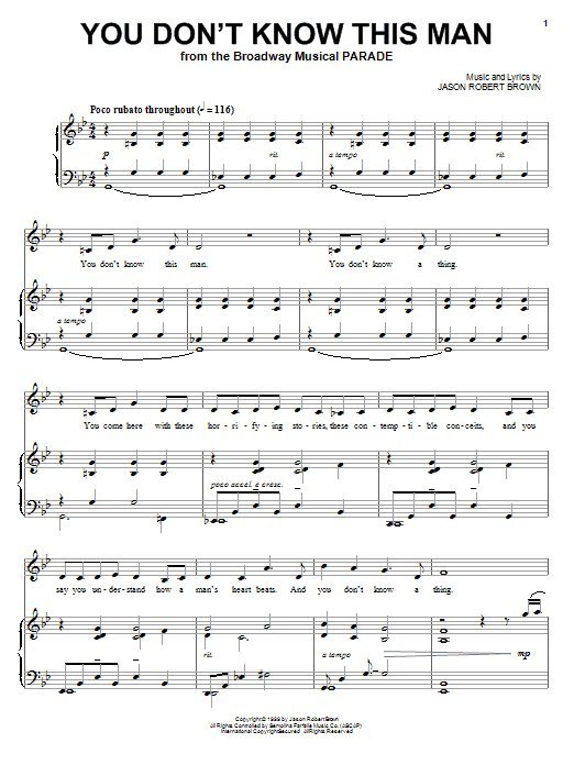 Jason Robert Brown You Don't Know This Man (from Parade) sheet music notes and chords. Download Printable PDF.