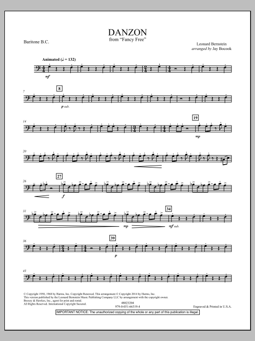 Jay Bocook Danzon (from Fancy Free) - Baritone B.C. sheet music notes and chords. Download Printable PDF.