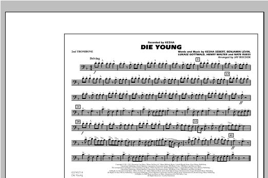 Jay Bocook Die Young - 2nd Trombone sheet music notes and chords. Download Printable PDF.