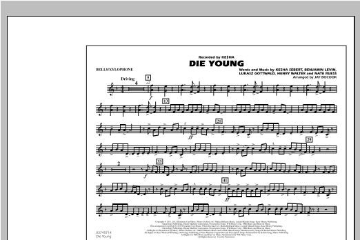 Jay Bocook Die Young - Bells/Xylophone sheet music notes and chords. Download Printable PDF.