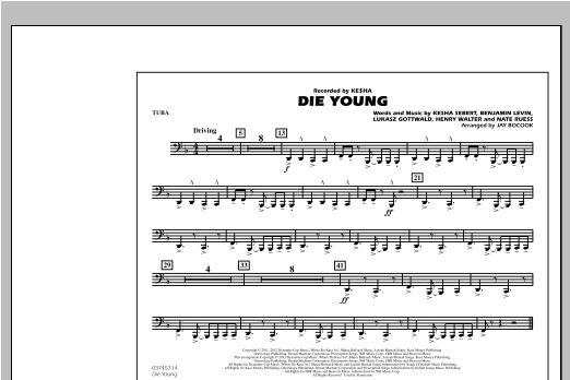 Jay Bocook Die Young - Tuba sheet music notes and chords. Download Printable PDF.