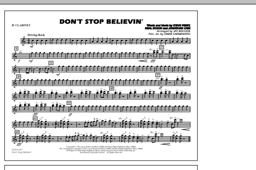 Jay Bocook Don't Stop Believin' - Bb Clarinet sheet music notes and chords