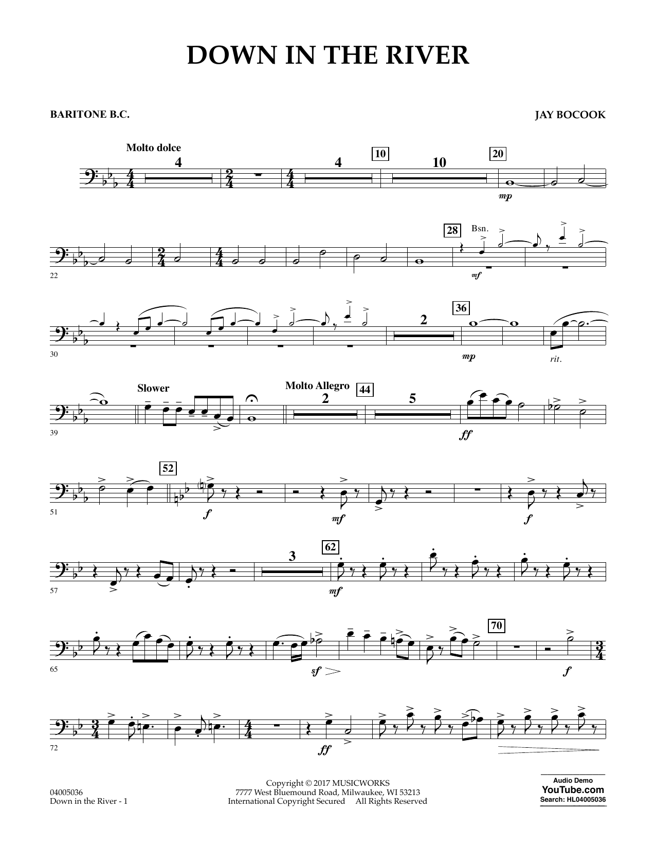 Jay Bocook Down in the River - Baritone B.C. sheet music notes and chords. Download Printable PDF.