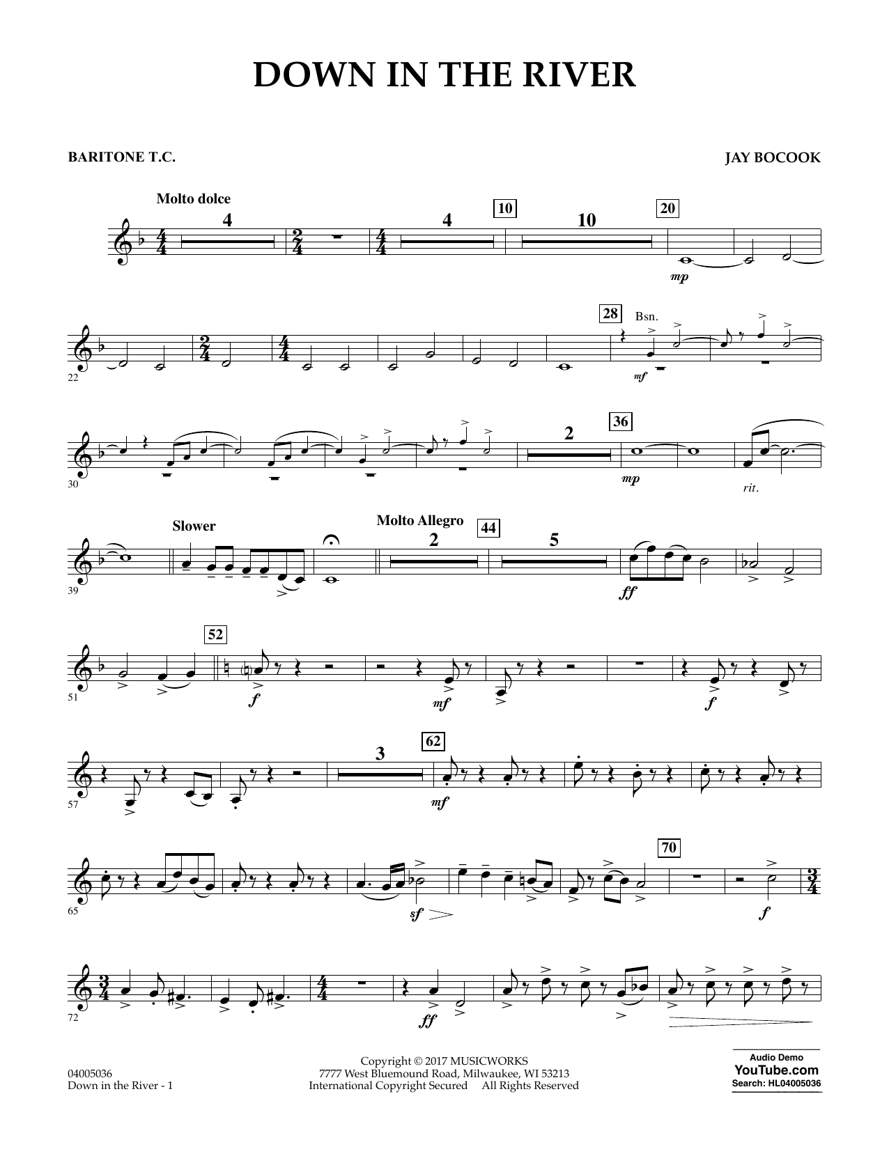 Jay Bocook Down in the River - Baritone T.C. sheet music notes and chords. Download Printable PDF.