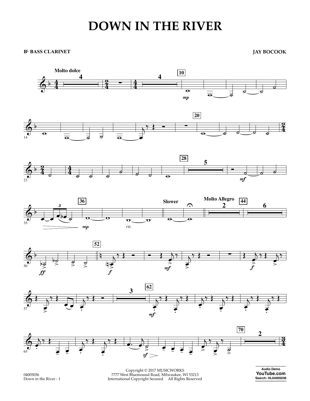 Jay Bocook Down in the River - Bb Bass Clarinet sheet music notes and chords. Download Printable PDF.