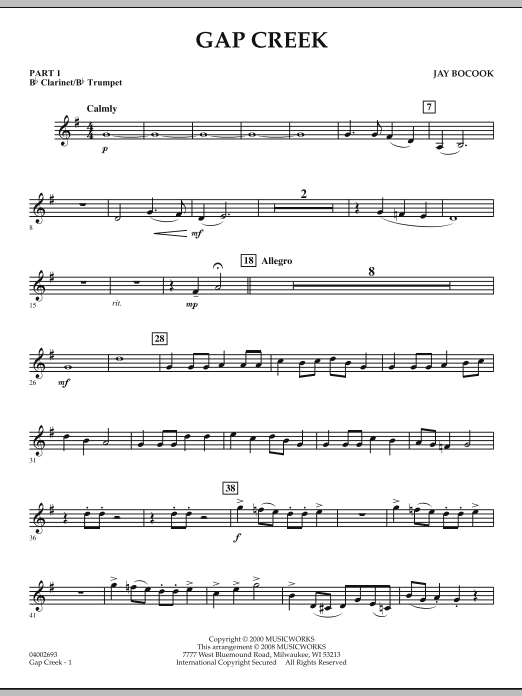 Jay Bocook Gap Creek - Pt.1 - Bb Clarinet/Bb Trumpet sheet music notes and chords. Download Printable PDF.