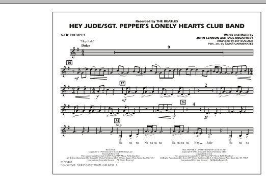 Jay Bocook Hey Jude/Sgt. Pepper's Lonely Hearts Club Band - 3rd Bb Trumpet sheet music notes and chords