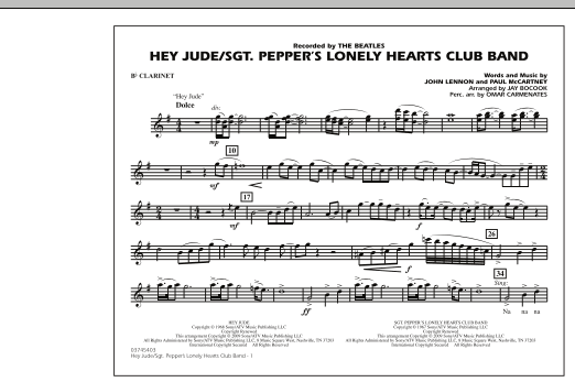 Jay Bocook Hey Jude/Sgt. Pepper's Lonely Hearts Club Band - Bb Clarinet sheet music notes and chords