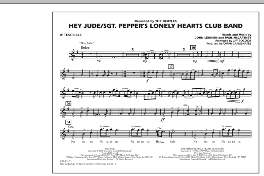 Jay Bocook Hey Jude/Sgt. Pepper's Lonely Hearts Club Band - Bb Tenor Sax sheet music notes and chords