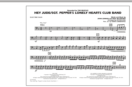 Jay Bocook Hey Jude/Sgt. Pepper's Lonely Hearts Club Band - Electric Bass sheet music notes and chords