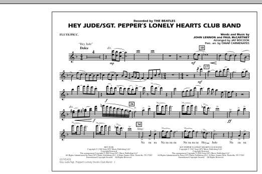 Jay Bocook Hey Jude/Sgt. Pepper's Lonely Hearts Club Band - Flute/Piccolo sheet music notes and chords. Download Printable PDF.