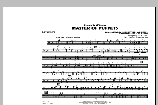 Jay Bocook Master of Puppets - 2nd Trombone sheet music notes and chords