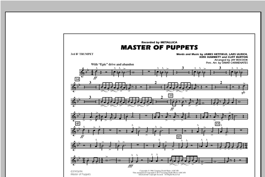 Jay Bocook Master of Puppets - 3rd Bb Trumpet sheet music notes and chords. Download Printable PDF.