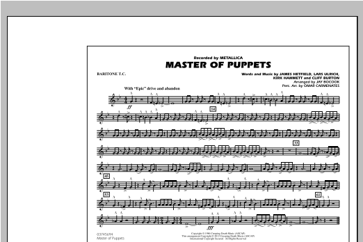 Jay Bocook Master of Puppets - Baritone T.C. sheet music notes and chords