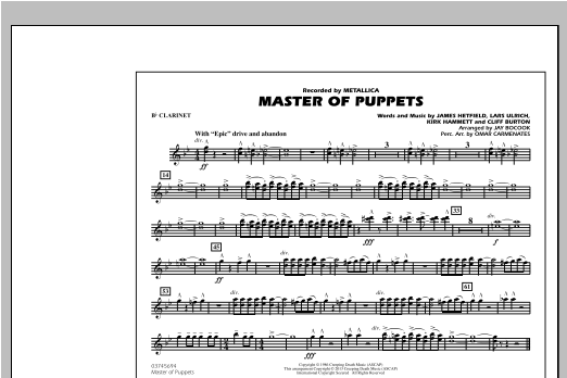 Jay Bocook Master of Puppets - Bb Clarinet sheet music notes and chords