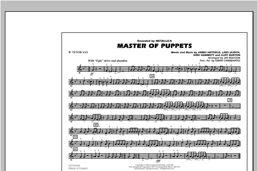 Jay Bocook Master of Puppets - Bb Tenor Sax sheet music notes and chords