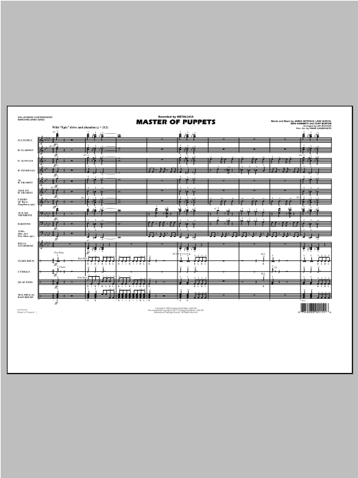 Jay Bocook Master of Puppets - Conductor Score (Full Score) sheet music notes and chords. Download Printable PDF.