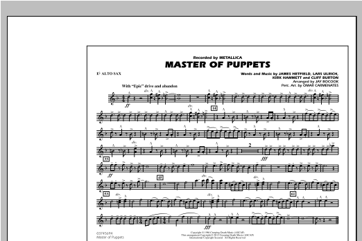 Jay Bocook Master of Puppets - Eb Alto Sax sheet music notes and chords
