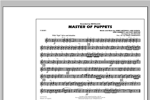 Jay Bocook Master of Puppets - F Horn sheet music notes and chords