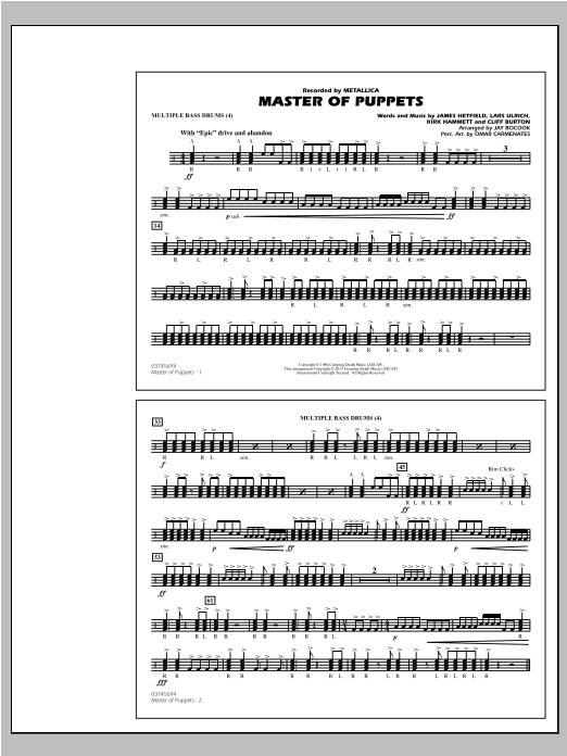 Jay Bocook Master of Puppets - Multiple Bass Drums sheet music notes and chords