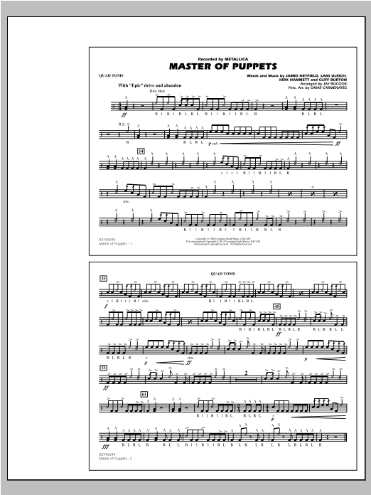 Jay Bocook Master of Puppets - Quad Toms sheet music notes and chords